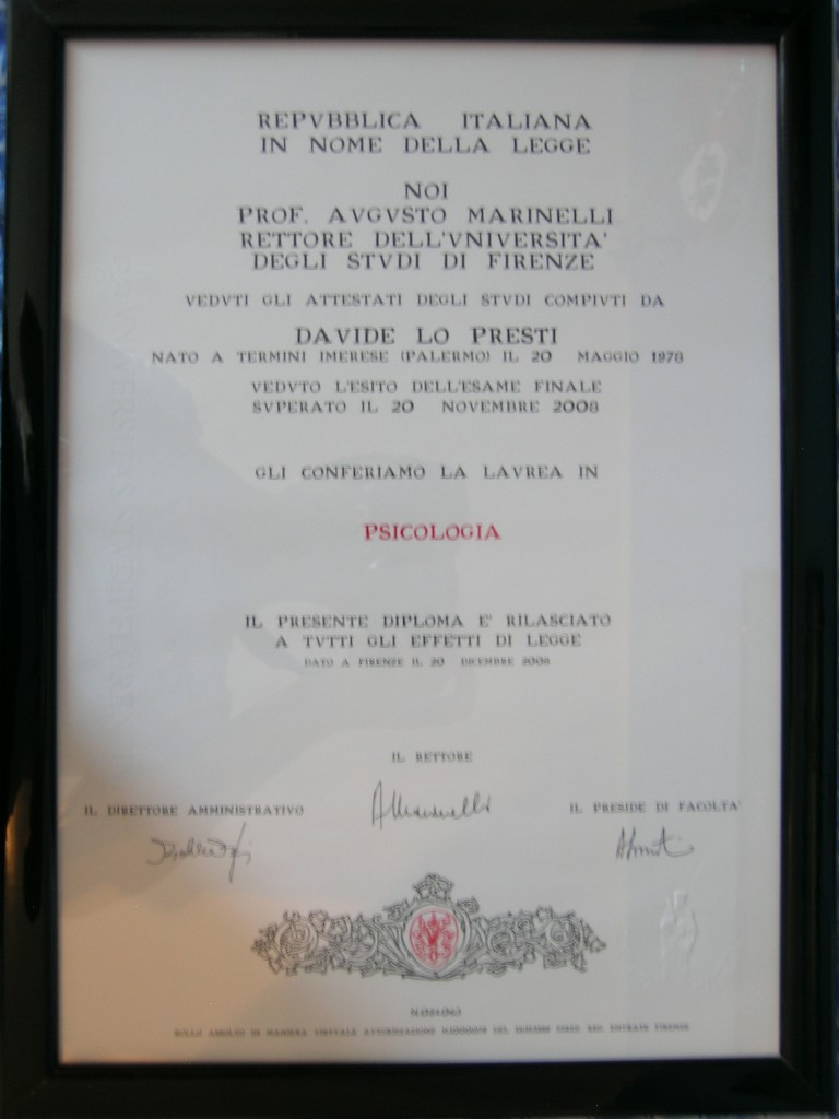 laurea psicologia Dr. Davide Lo Presti