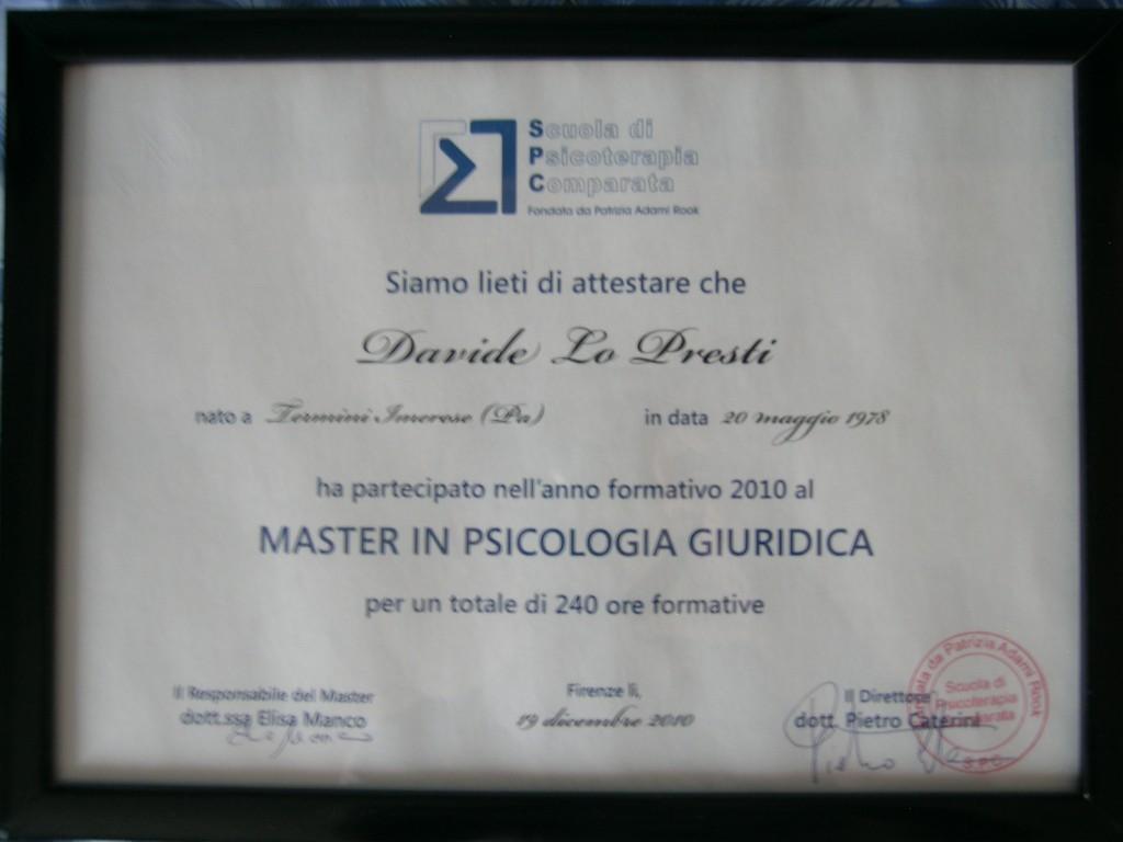 master psicologia giuridica Dr. Davide Lo Presti